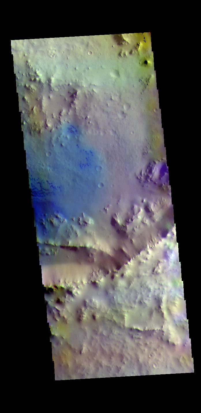 This image from NASAs Mars Odyssey shows an unnamed crater north of Meridiani Planum.