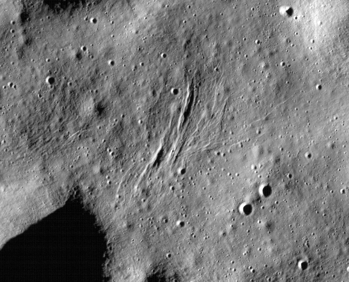 These graben - a kind of trench that is formed as a surface expands - were imaged near a region of the Moon called Mare Frigoris by NASAs Lunar Reconnaissance Orbiter (LRO).