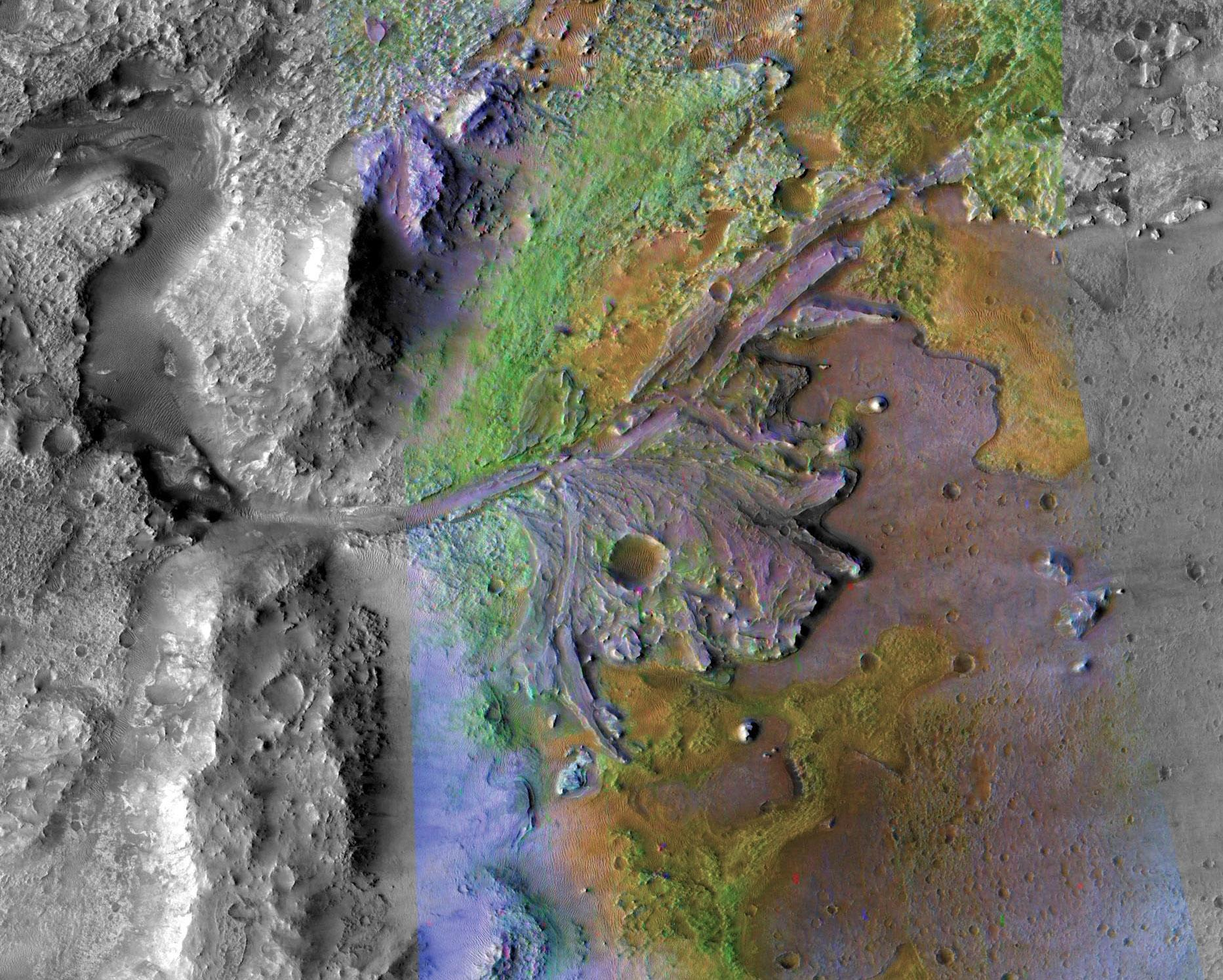 This image of Jezero Crater on Mars, the landing site for NASAs Mars 2020 mission, was taken by instruments on NASAs Mars Reconnaissance Orbiter.