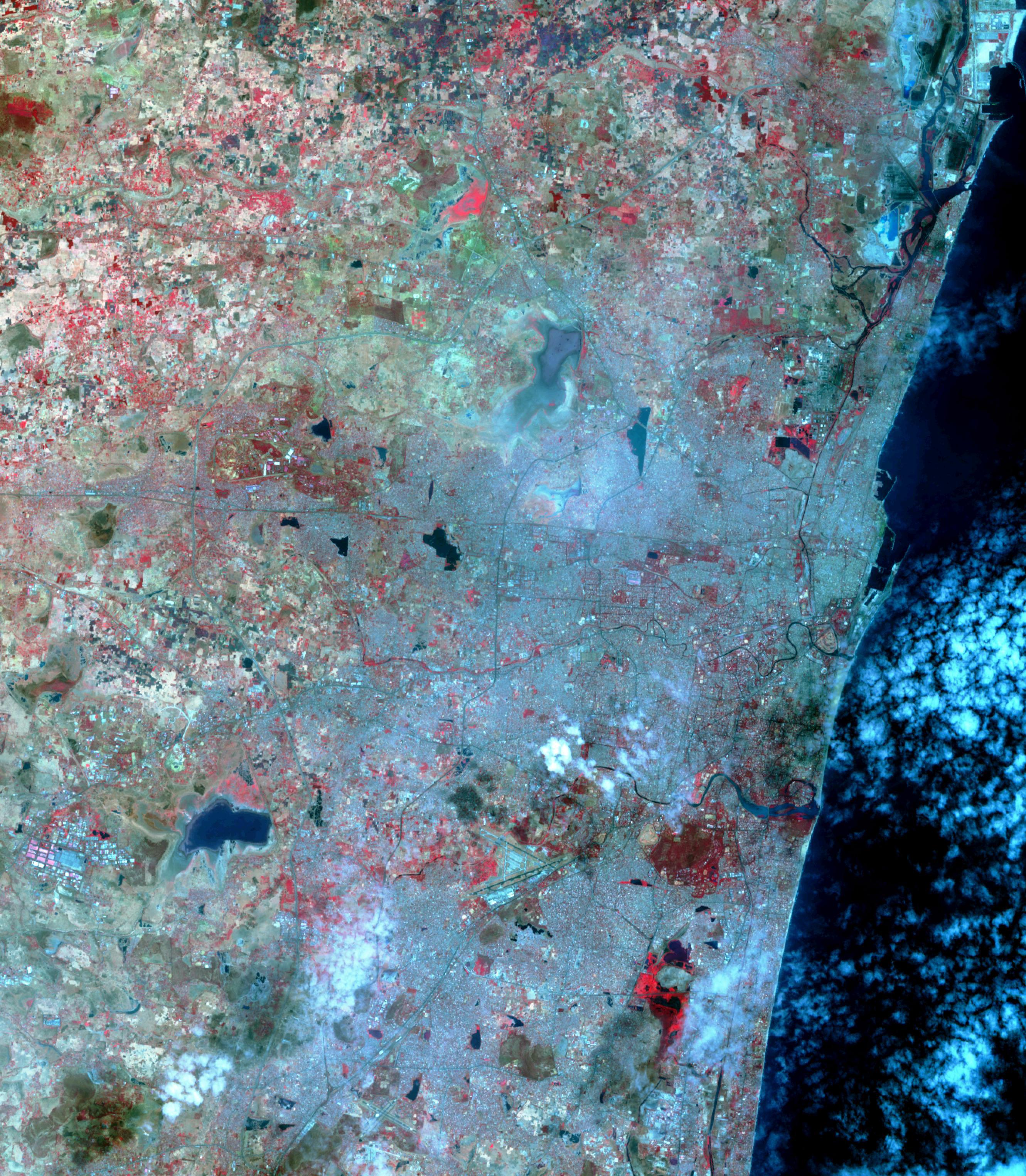 NASAs Terra spacecraft shows Chennai, Indias four major reservoirs have virtually run dry. The city has seen no rain for over six months.