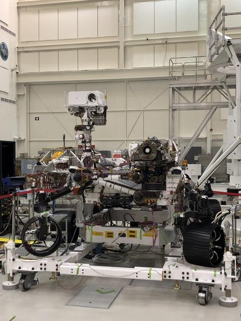 This image of NASAs Mars 2020 rover was taken on July 23, 2019 in the Spacecraft Assembly Facilitys High Bay 1 at the Jet Propulsion Laboratory in Pasadena, California.