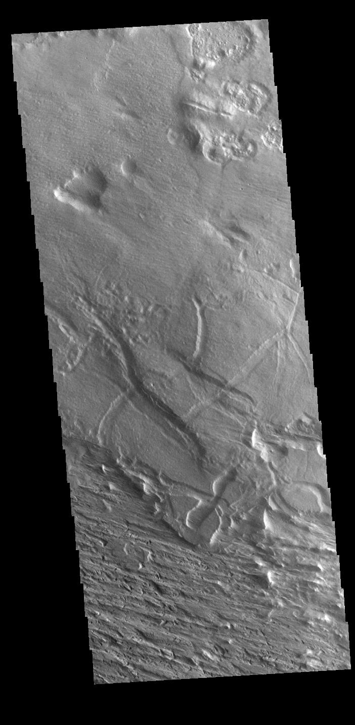 This image from NASAs Mars Odyssey shows an area near Gordii Dorsum has been eroded for millions of years. Long term unidirectional winds scour the surface into linear patterns.