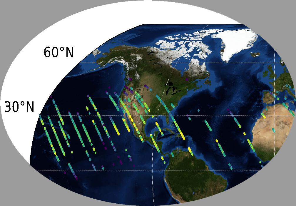 This image shows preliminary carbon dioxide (CO2) measurements from OCO-3 over the United States.