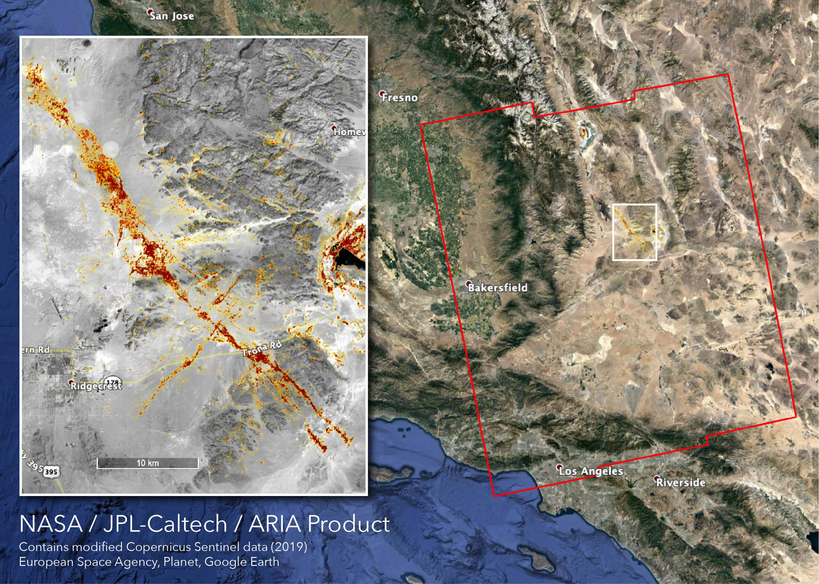 NASAs ARIA team produced this map of earthquake damage in Southern California from the recent temblors in July, 2019.