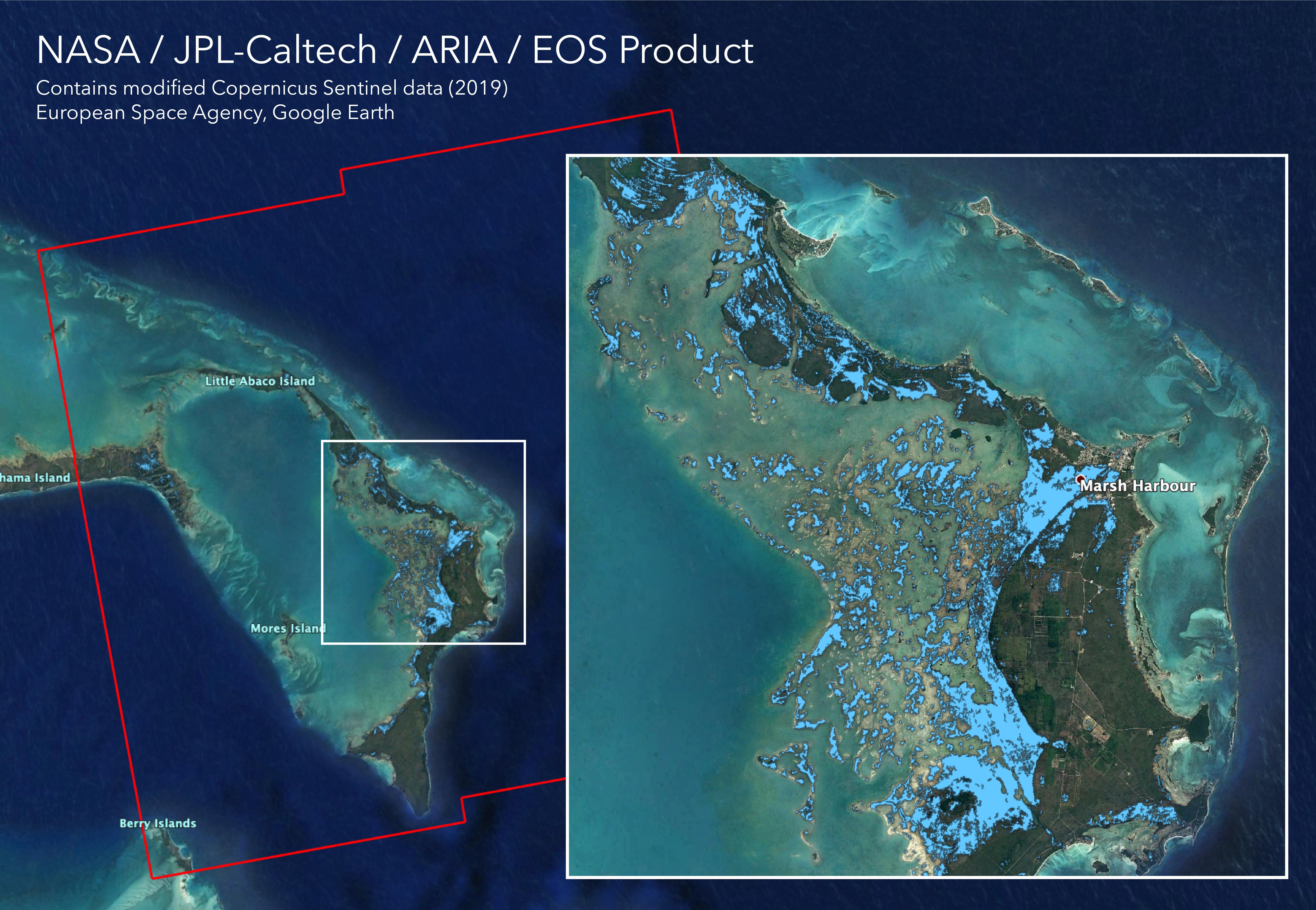 NASAs ARIA team used satellite data acquired on Sept. 2, 2019, to map flooding in the Bahamas in the wake of Hurricane Dorian.
