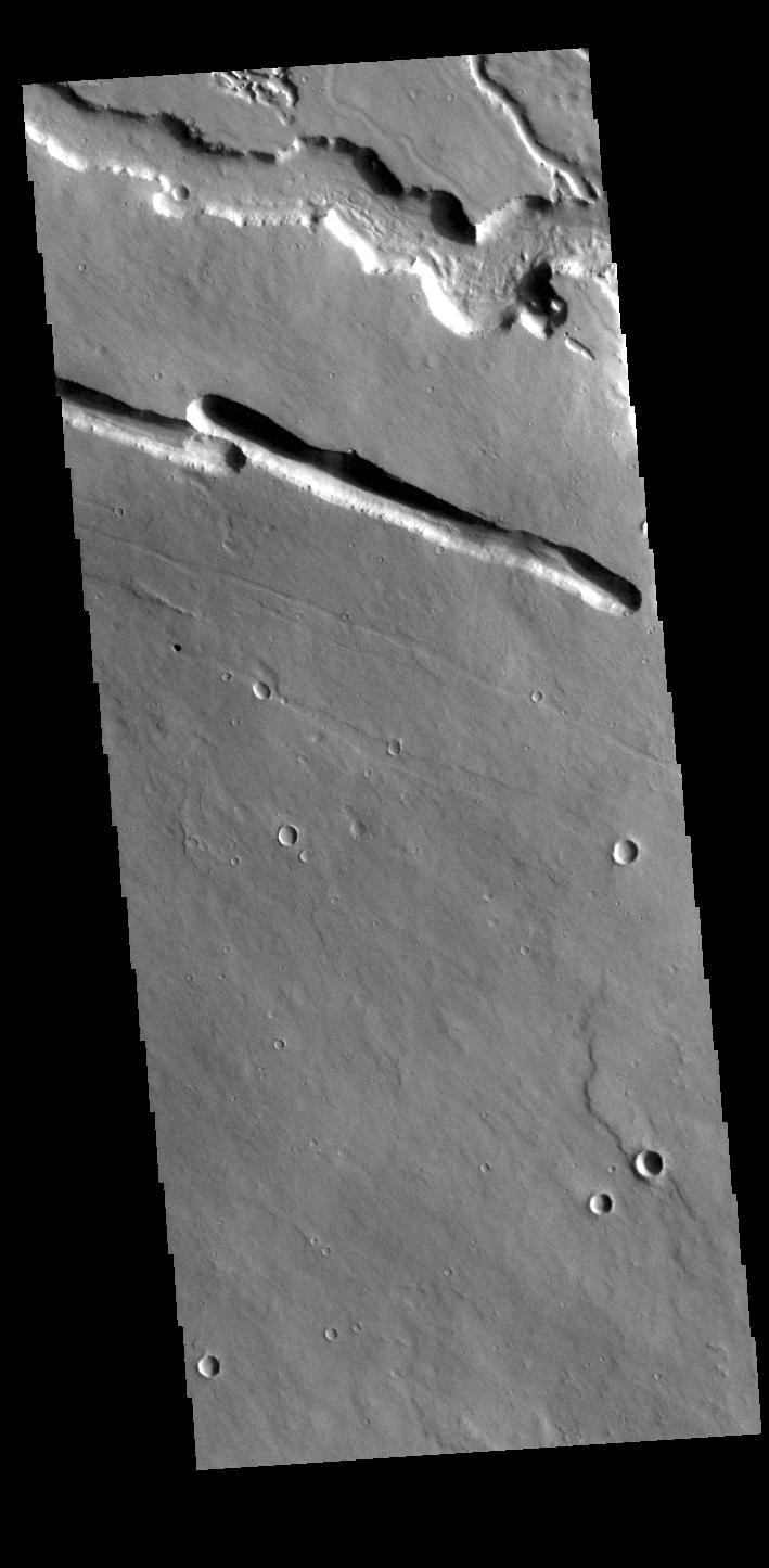 This image from NASAs Mars Odyssey shows an area west of Elysium Mons in the region called Elysium Fossae.