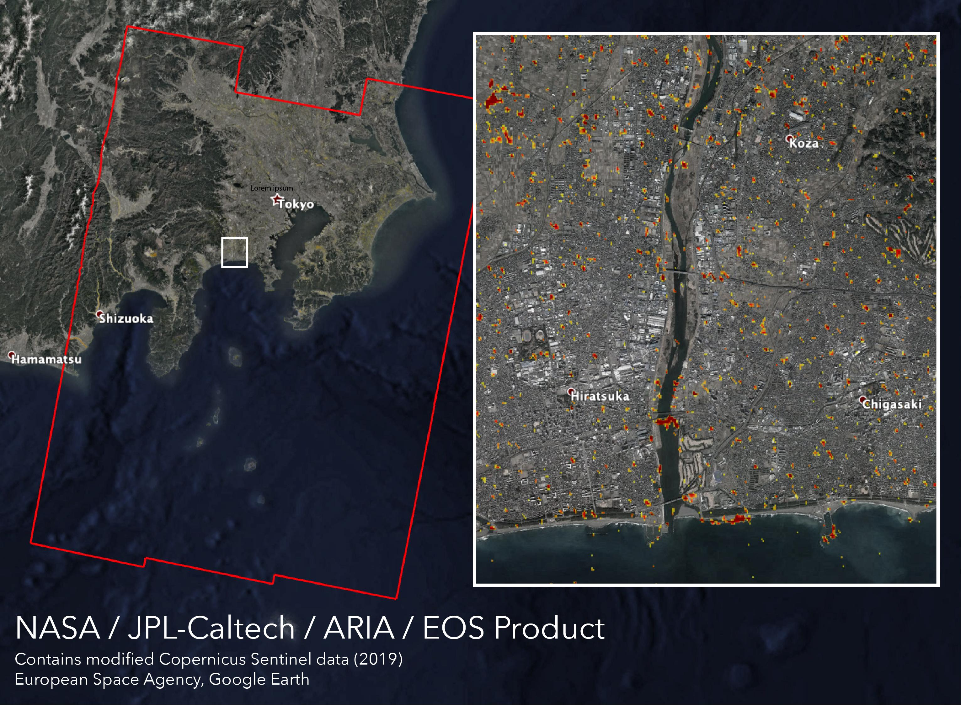 NASAs ARIA team, along with the Earth Observatory of Singapore, created this map showing damage from Typhoon Hagibis, which struck southwest of Tokyo on Oct. 12, 2019.