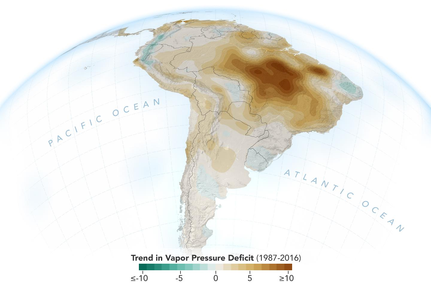 The image shows the decline of moisture in the air over the Amazon rainforest.