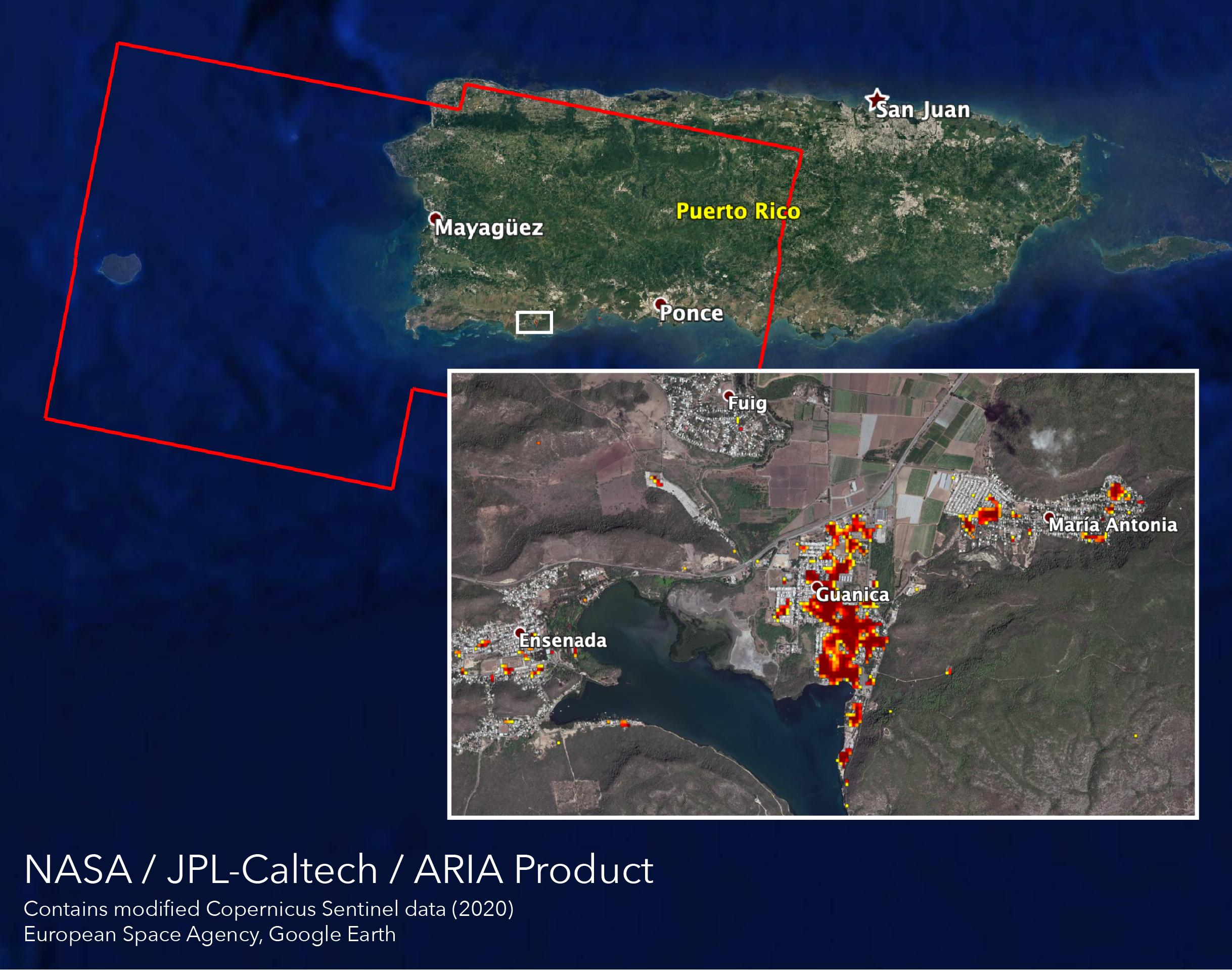 NASAs ARIA team mapped damage in southwestern Puerto Rico following a 6.4-magnitude quake and hundreds of aftershocks. Guanica, west of the city of Ponce, was particularly hard-hit.