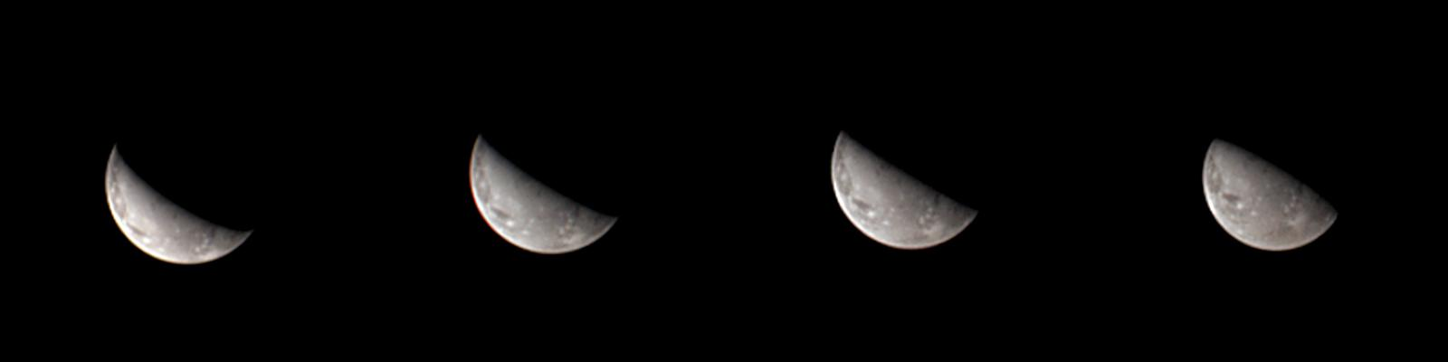 This sequence of four images from NASAs Juno spacecraft reveals the first views of the north polar region of Jupiters moon Ganymede.