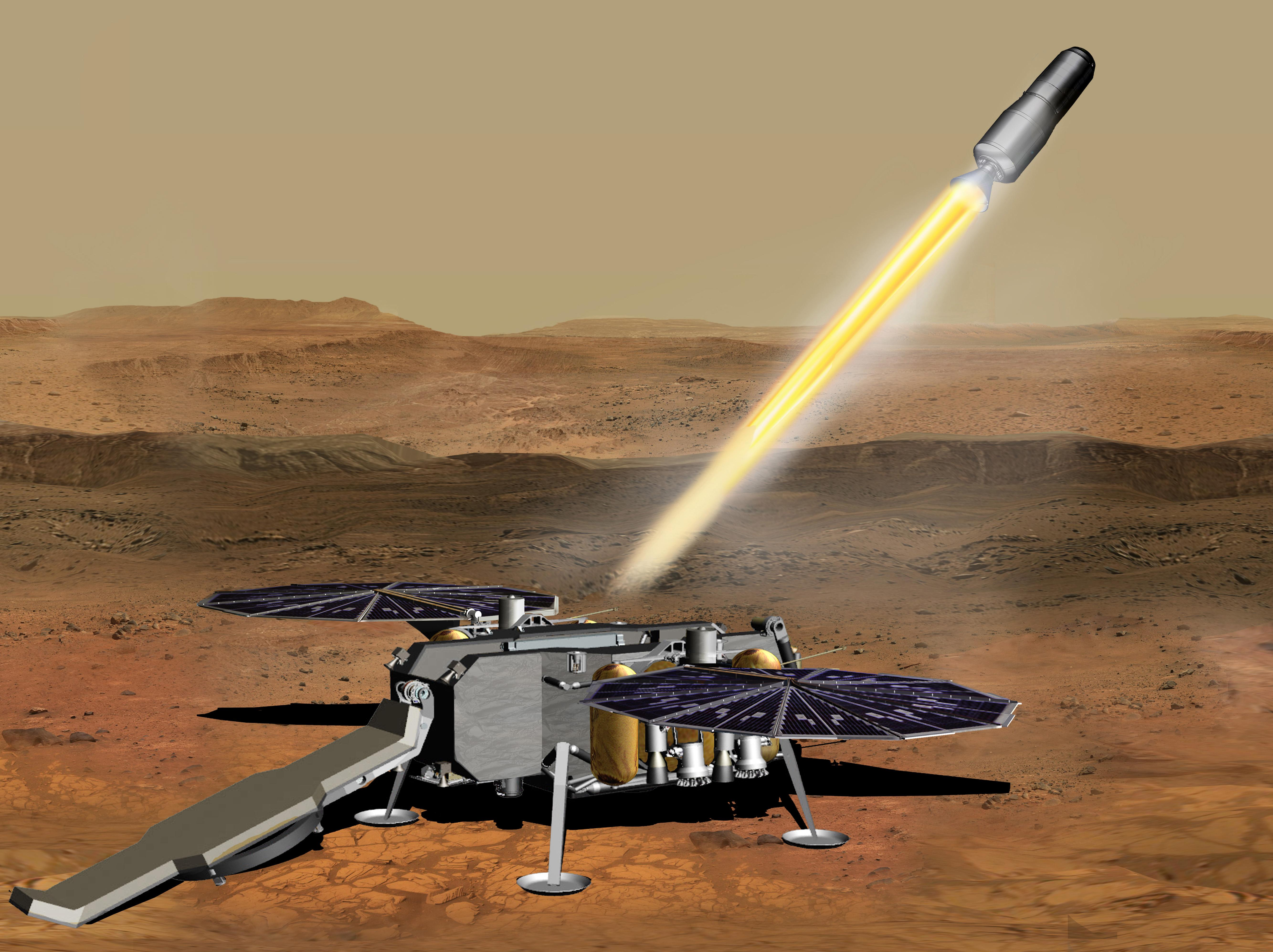 This illustration shows a concept of how the NASA Mars Ascent Vehicle could be launched from the surface of Mars in one step of the Mars sample return mission.
