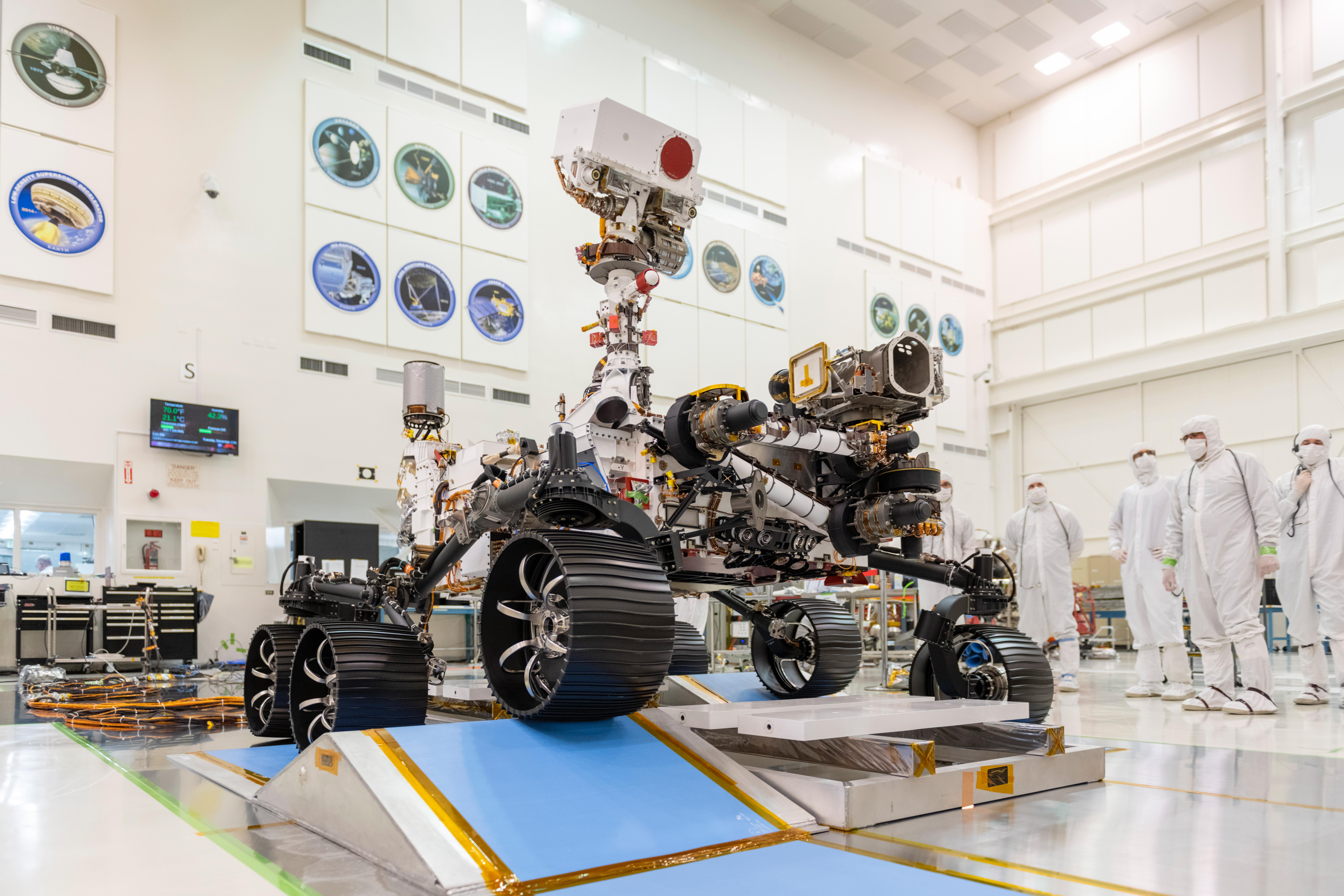 In a clean room at NASAs Jet Propulsion Laboratory in Pasadena, California, engineers observed the first driving test for NASAs Mars 2020 rover on Dec. 17, 2019.