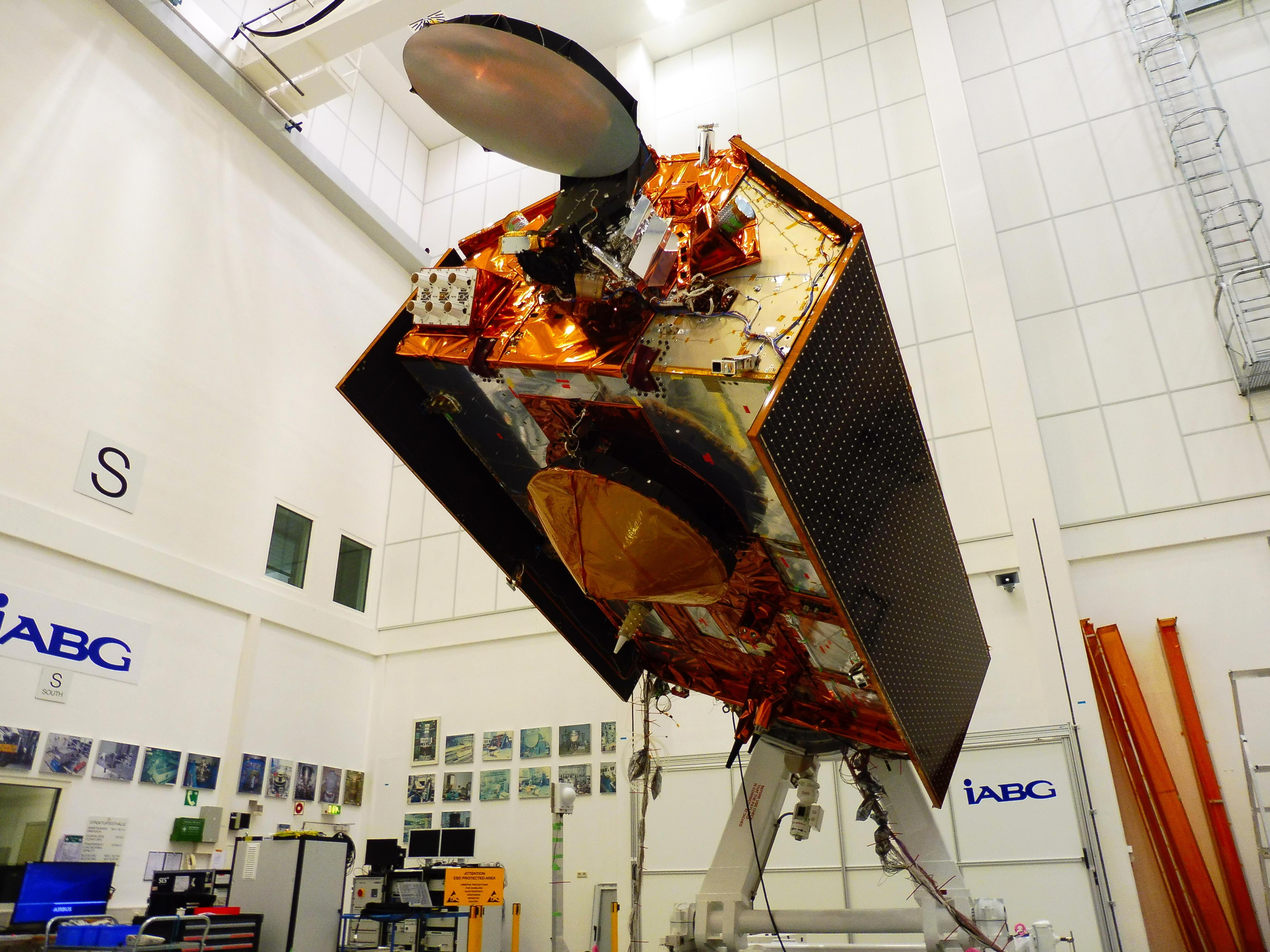 The Sentinel-6A spacecraft sits in its clean room in Germanys IABG space test center, being prepared for a scheduled launch in November 2020 from Vandenberg Air Force Base in California.