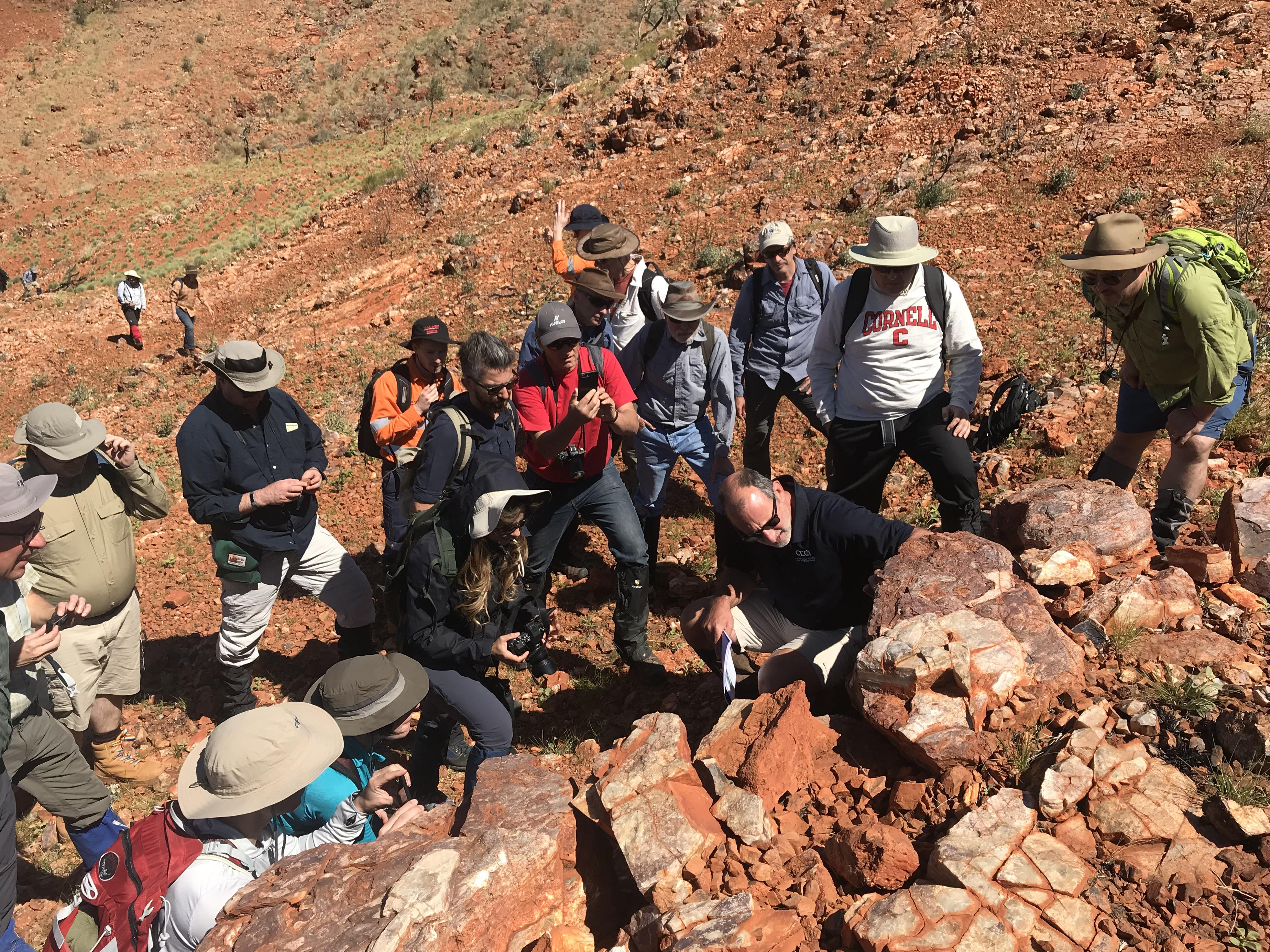 Scientists from NASAs Mars 2020 and ESAs ExoMars projects study stromatolites, the oldest confirmed fossilized lifeforms on Earth, in the Pilbara region of North West Australia.