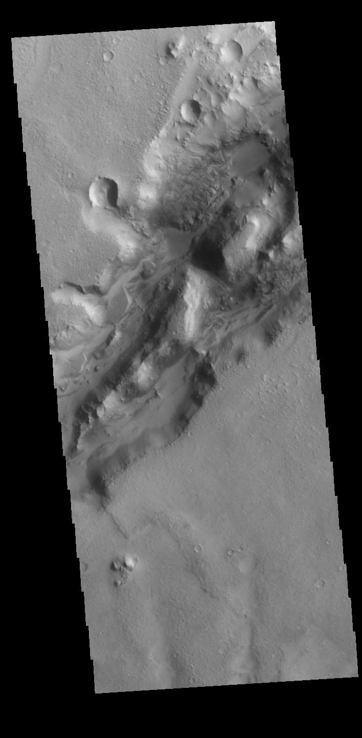 This image from NASAs Mars Odyssey shows a section of a graben that is part of Nili Fossae.