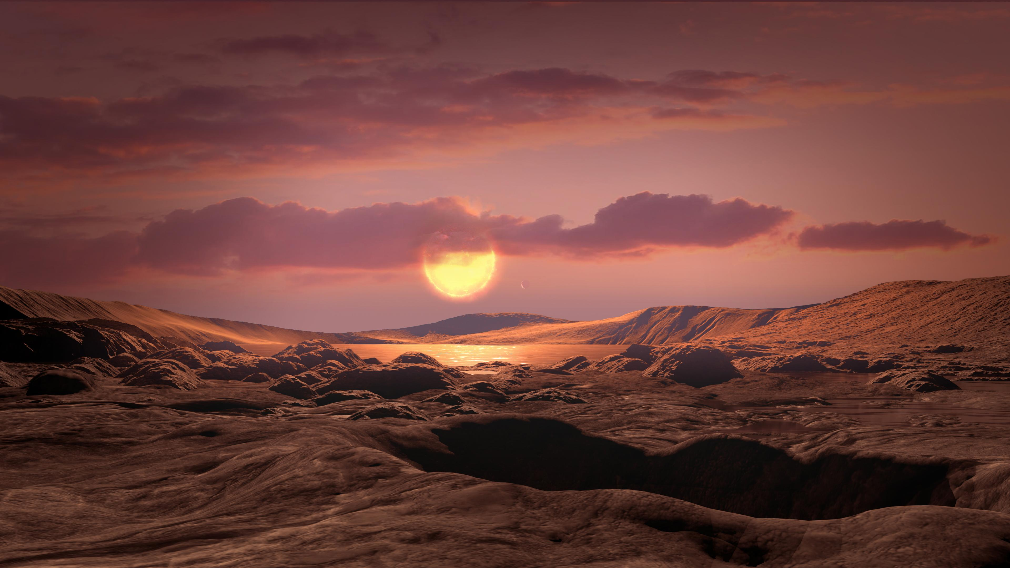 This artists concept shows exoplanet Kepler-1649c orbiting around its host red dwarf star.