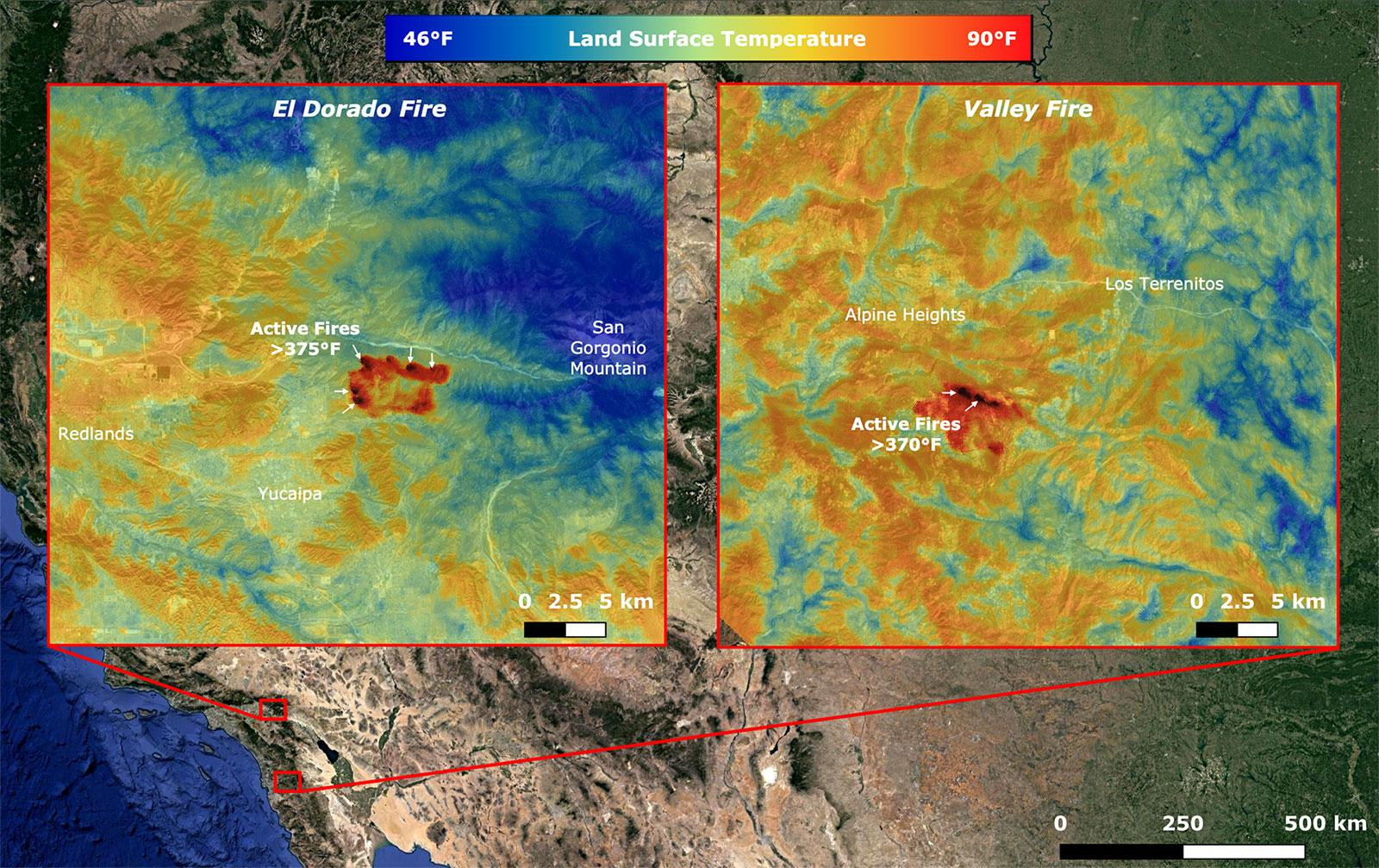 On Sept. 6, NASAs ECOSTRESS imaged active fires across California, including the El Dorado fire near Yucaipa and the Valley fire in Japatul Valley in the southern part of the state.