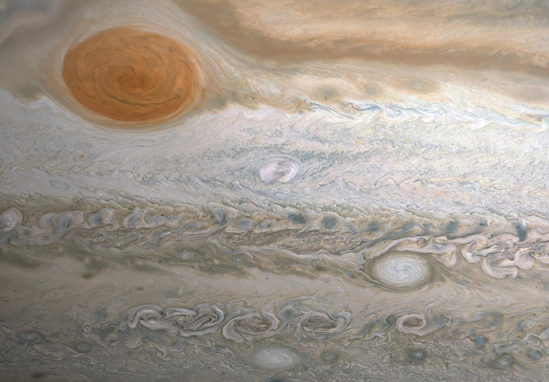 This image from NASAs Juno spacecraft captures several storms in Jupiters southern hemisphere.