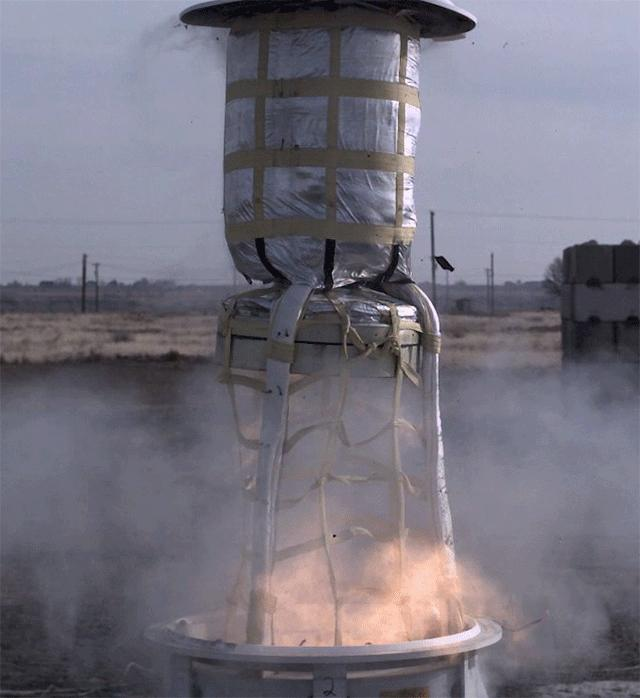 This animated GIF shows a test of the mortar system that will be used on Feb. 18, 2021, to deploy the parachute for NASAs Perseverance rover.