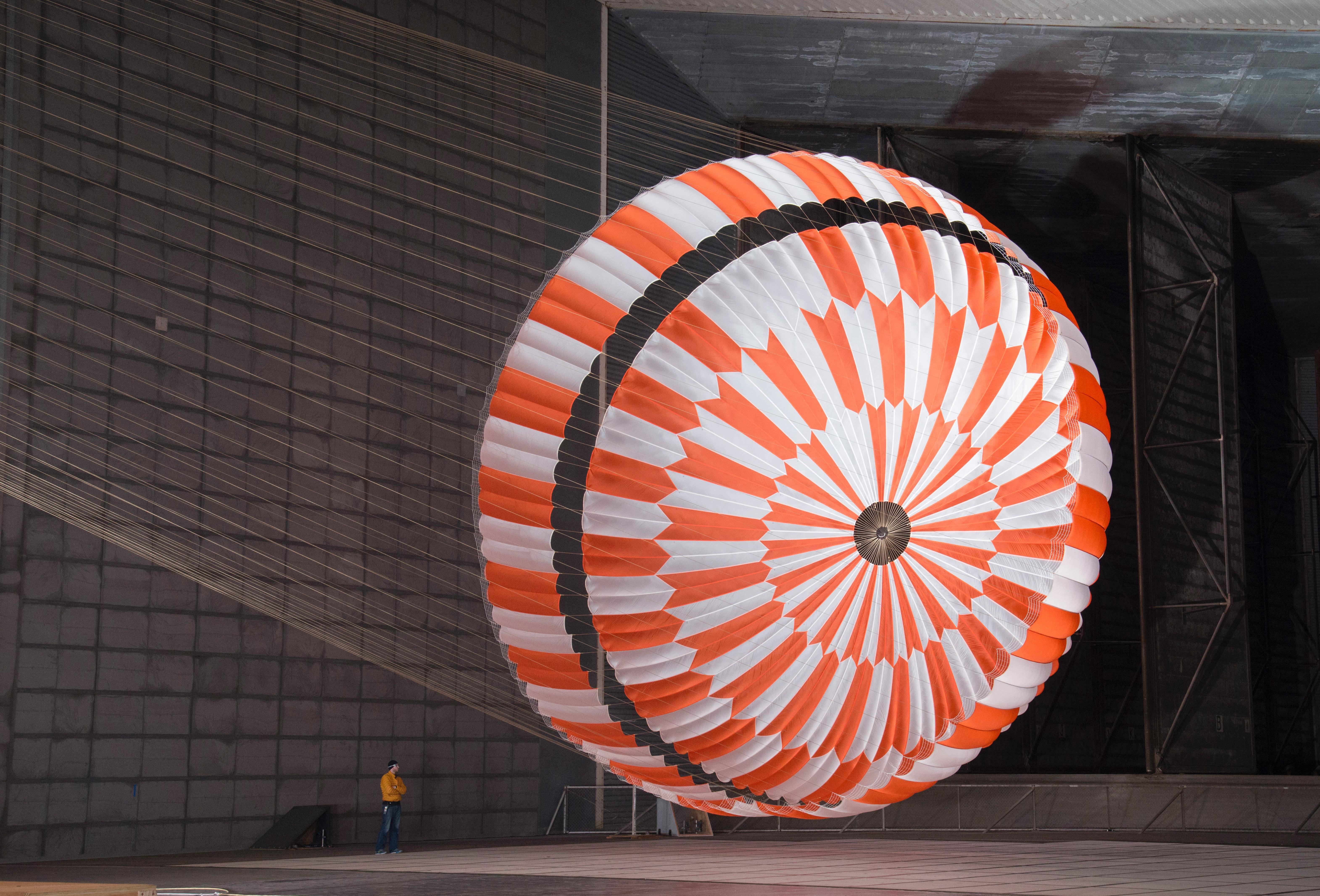 In this June 2017 photo, the supersonic parachute design that will land NASAs Perseverance rover on Mars on Feb. 18, 2021, undergoes testing in a wind tunnel at NASAs Ames Research Center in Californias Silicon Valley.
