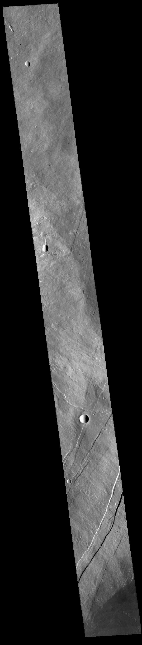 This image from NASAs Mars Odyssey shows part of the eastern flank of Arsia Mons, including part of Oti Fossae.