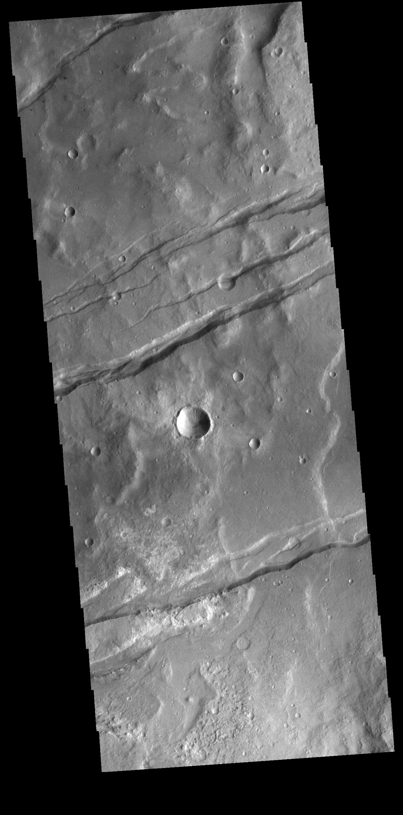 This image from NASAs Mars Odyssey shows depressions, called graben, which form by the down drop of material between two parallel faults.