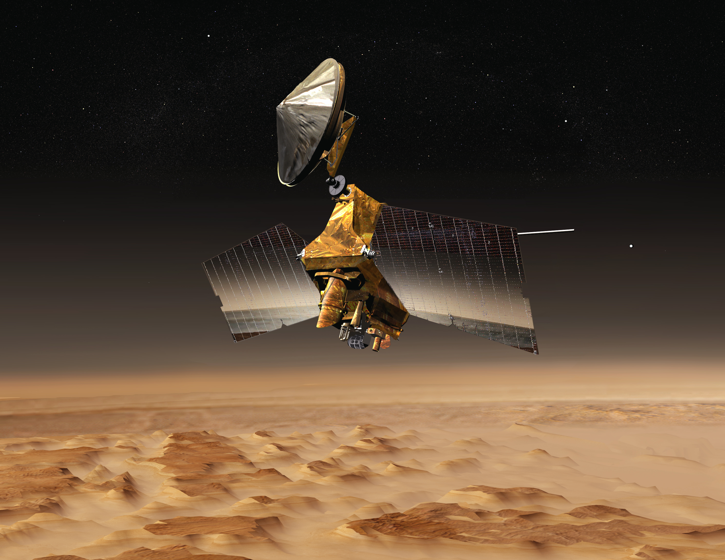 This artist's concept shows NASA's Mars Reconnaissance Orbiter mission over the red planet.
