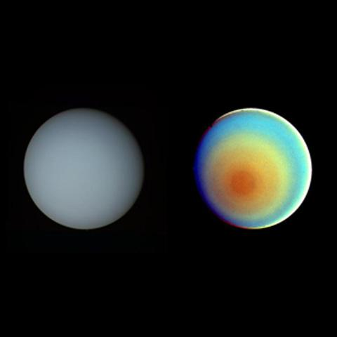 This image of uranus was captured by Voyager 2 back in 1986. This week sky-watchers get to see the Green Giant through binoculars next to the moon.Credit: NASA