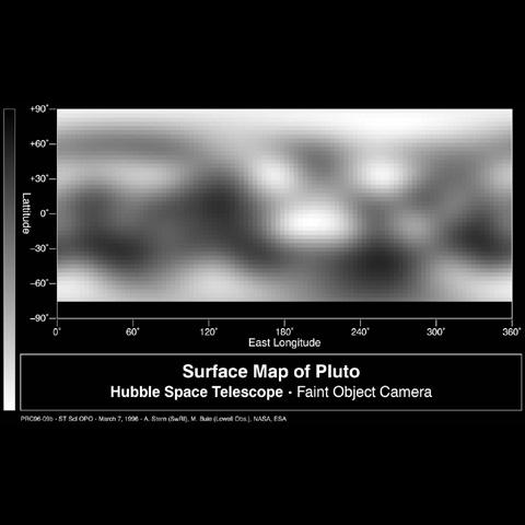 This image-based surface map of Pluto was assembled by computer image processing software from four separate images of Pluto's disk taken with the European Space Agency's Faint Object Camera aboard NASA's Hubble Space Telescope.
