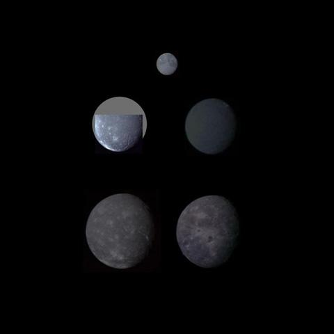 Montage of Uranus' five largest satellites taken by NASA's Voyager 2.. From to right to left in order of decreasing distance from Uranus are Oberon, Titania, Umbriel, Ariel, and Miranda.