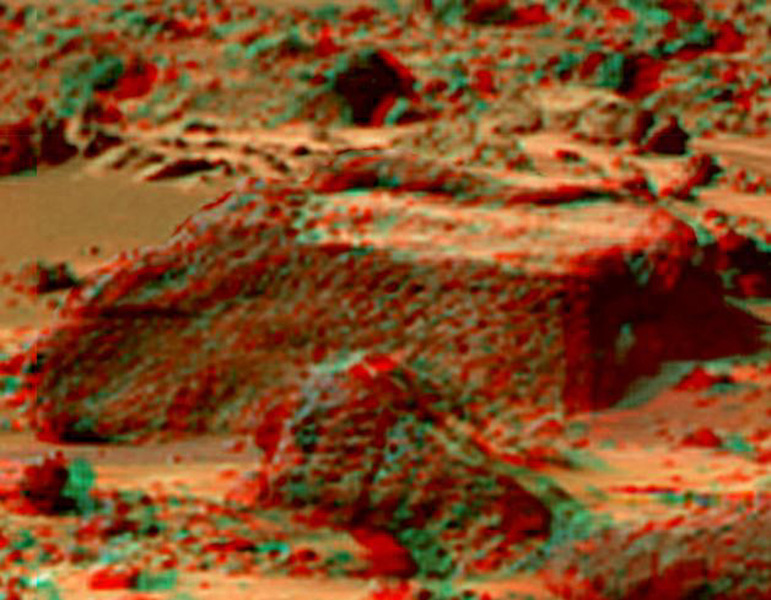 This anaglyph view of 'Chimp,' south southwest of the lander, was produced by NASA's Mars Pathfinder's Imager camera. 3D glasses are necessary to identify surface detail.