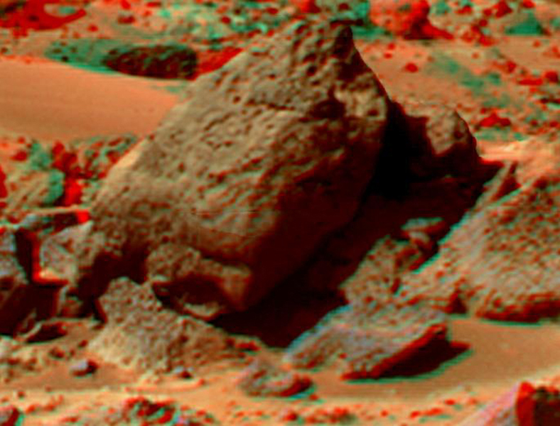 This anaglyph view of 'Shark' was produced by NASA's Mars Pathfinder's Imager camera. 3D glasses are necessary to identify surface detail.