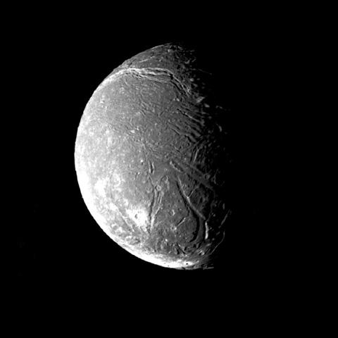 NASA's Voyager 2 took this image on January  24, 1986, showing Ariel's surface densely pitted with craters. Numerous valleys and fault scarps crisscross the highly pitted terrain.