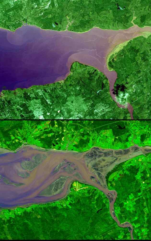 The highest tides on Earth occur in the Minas Basin, the eastern extremity of the Bay of Fundy, Nova Scotia, Canada. This image was acquired by NASA's Terra spacecraft.