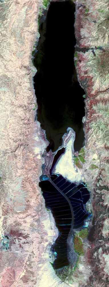 The Dead Sea is the lowest point on Earth at 418 meters below sea level, and also one of the saltiest bodies of water on Earth. This image was acquired by NASA's Terra spacecraft.