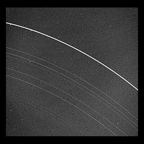 NASA's Voyager 2 returned this picture of the Uranus rings on Jan. 22, 1986, from a distance of 2.52 million kilometers (1.56 million miles). All nine known rings are visible in this image.
