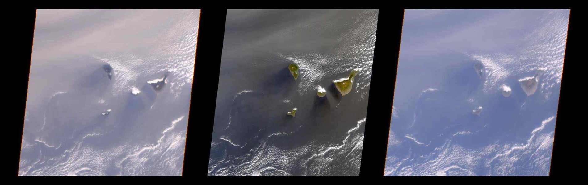 A multi-angle view of the Canary Islands in a dust storm, 29 February 2000. At left is a true-color image taken by the Multi-angle Imaging SpectroRadiometer (MISR) instrument on NASA's Terra satellite.