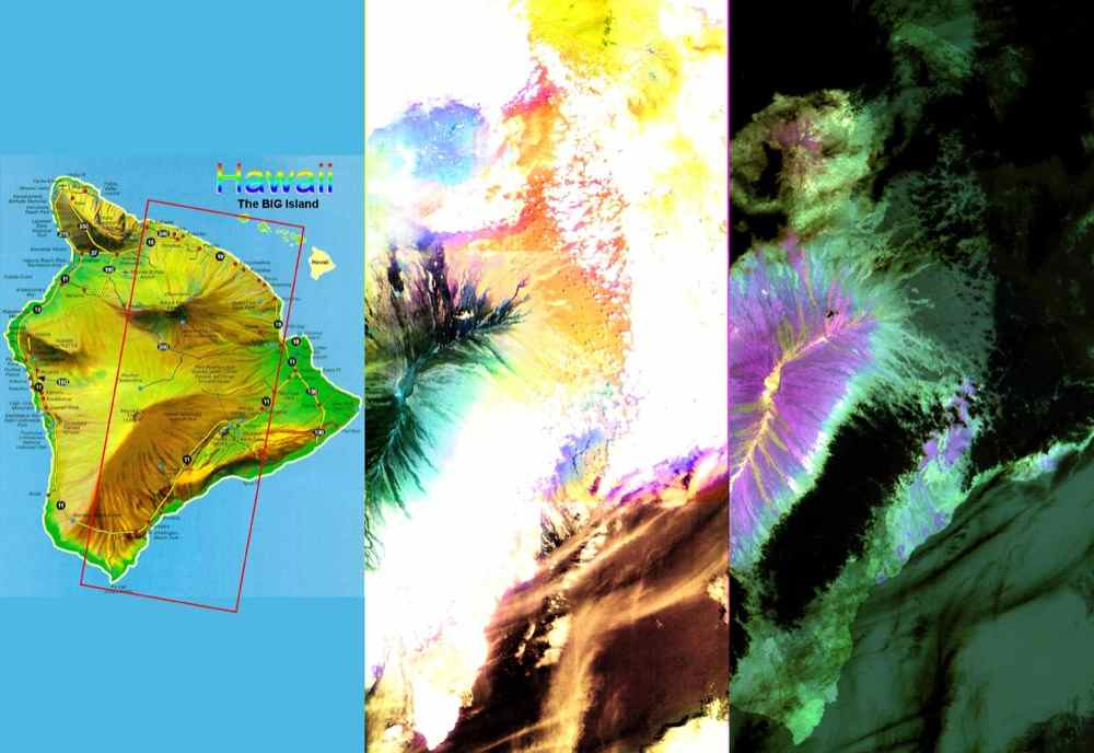 These images of the Island of Hawaii were acquired on March 19, 2000 by the Advanced Spaceborne Thermal Emission and Reflection Radiometer (ASTER) on NASA's Terra satellite.