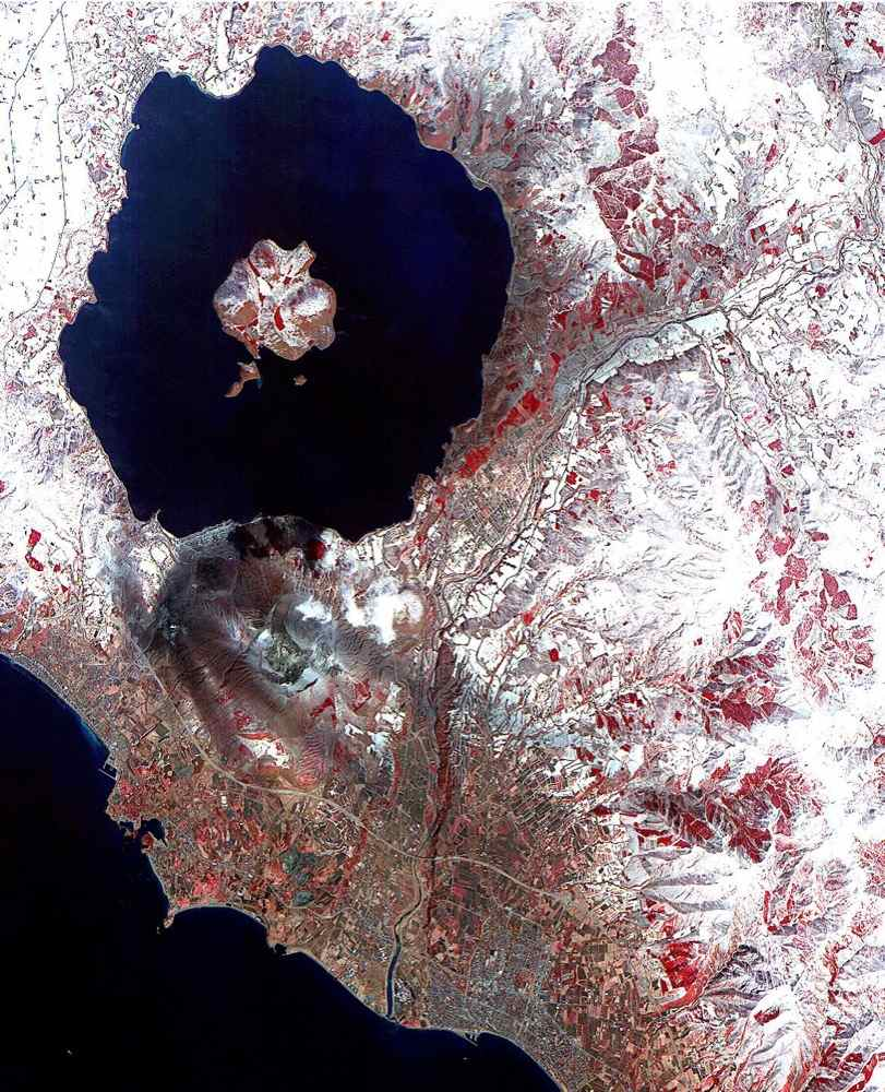 On April 3, 2000, the Advanced Spaceborne Thermal Emission and Reflection Radiometer (ASTER) on NASA's Terra Satellite captured this image of the erupting Mt. Usu volcano in Hokkaido, Japan.