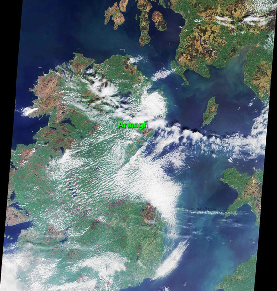 This image was acquired on May 5, 2000 during NASA's Terra orbit 2026. The location of the town of Armagh in Northern Ireland is marked.