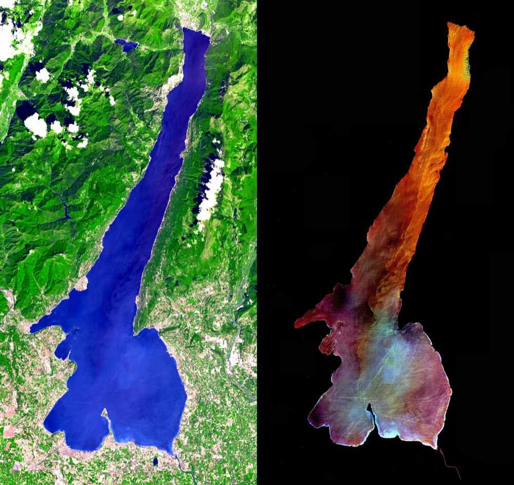 Lake Garda was formed by glaciers during the last Ice Age, and is Italy's largest lake. This image was acquired by NASA's Terra satellite on July 29, 2000.
