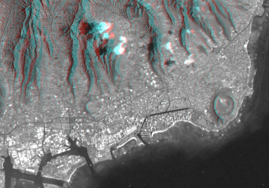 This anaglyph, from NASA's Shuttle Radar Topography Mission, is of Honolulu, on the island of Oahu .3D glasses are necessary to view this image.
