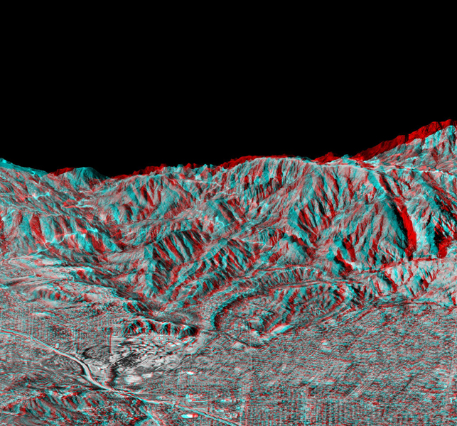 This anaglyph, from NASA's Shuttle Radar Topography Mission, is of Pasadena, California, looking north toward the San Gabriel Mountains. 3D glasses are necessary to view this image.