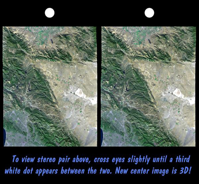 Space Images Srtm Stereo Pair With Landsat Overlay Los Angeles To San Joaquin Valley California