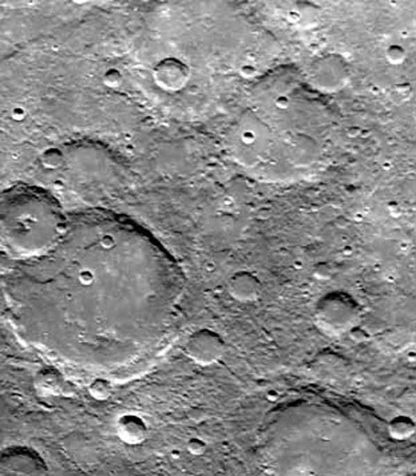During its second encounter with Mercury on Sept. 21, 1974, NASA's Mariner 10 took this picture of the planet's South Polar Region. Many of the craters have denuded rims peppered by smaller craters.