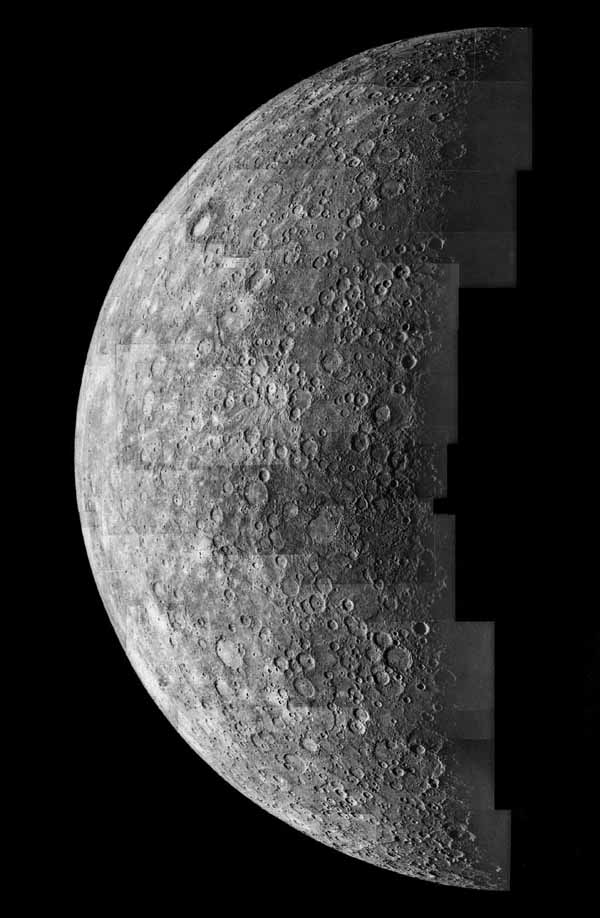 This computer generated photomosaic from NASA's Mariner 10 is of the southern half of Mercury's Shakespeare Quadrangle, named for the ancient Shakespeare crater located on the upper edge to the left of center.