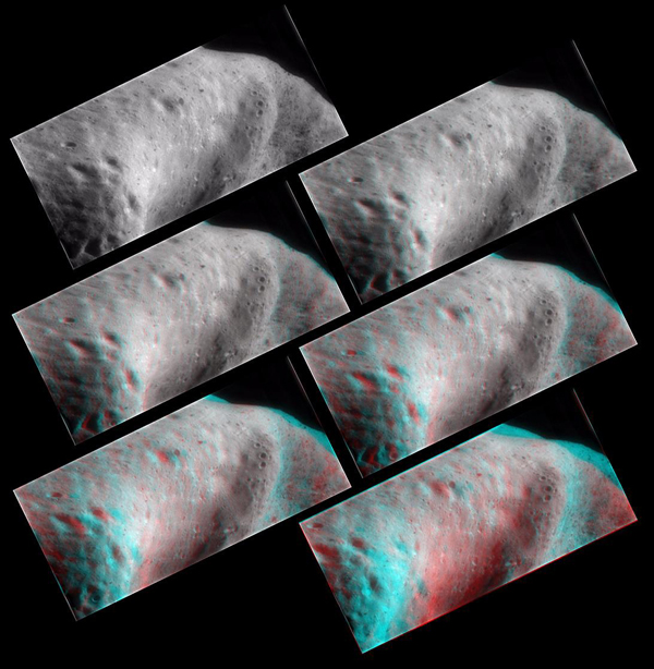 62 miles above Eros, NASA's NEAR Shoemaker took several frames which were combined to create this anaglyph of the saddle region, 3D glasses are necessary to view this image.