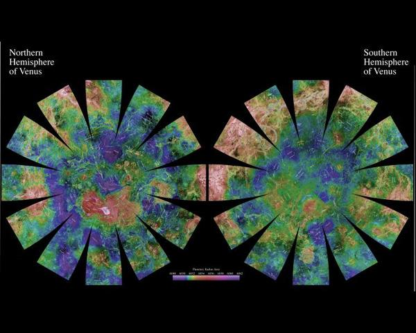 The images used for the base of this globe show the northern and southern hemispheres of Venus as revealed by more than a decade of radar investigations culminating in the 1990-1994 NASA Magellan mission.