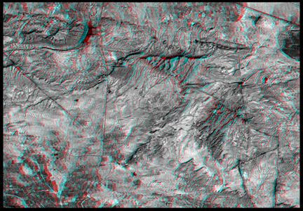This anaglyph NASA's Shuttle Radar Topography Mission, shows the city of Bhuj, India. 3D glasses are necessary to view this image.