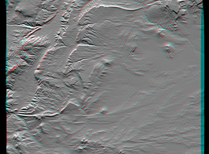 This anaglyph, from NASA's Shuttle Radar Topography Mission, is of an area southwest of Zapala, Argentina, showing a wide diversity of geologic features. 3D glasses are necessary to view this image.